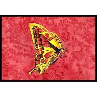 Carolines Treasures 8862JMAT 24 x 36 in. Butterfly On Red Indoor Or Outdoor Doormat