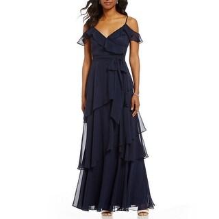 Tahari ASL Ruffled A-Line Evening Gown Dress - 4