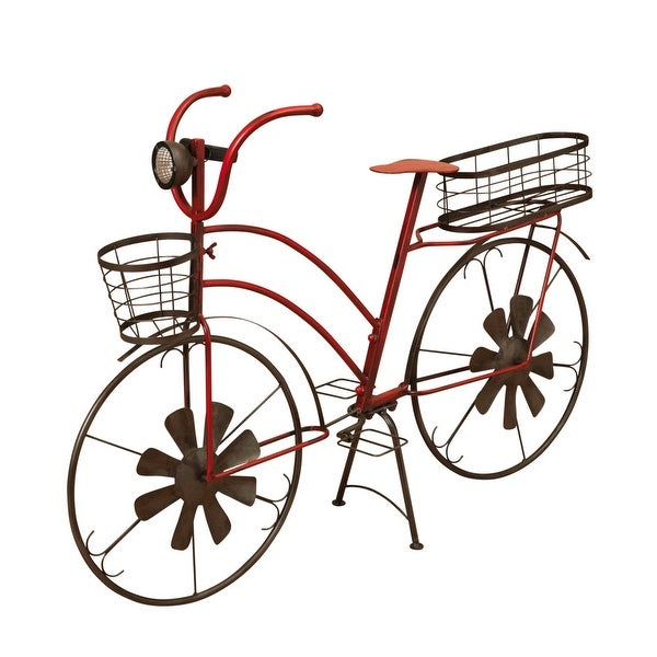 """37"""" Red and Brown Long Solar Lighted Antique Bicycle Centerpiece - N/A"""