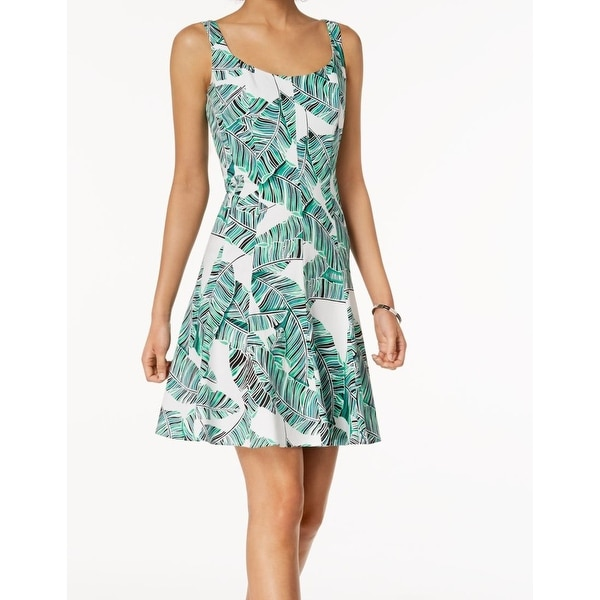 d71ee745c3e8a Shop Nine West White Leaf Tropical Print Fit Flare A-Line Dress - On Sale -  Free Shipping On Orders Over  45 - Overstock - 27388694
