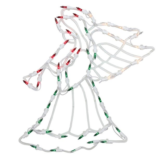 """18"""" Lighted Angel Christmas Window Silhouette Decoration (Pack of 4) - green"""
