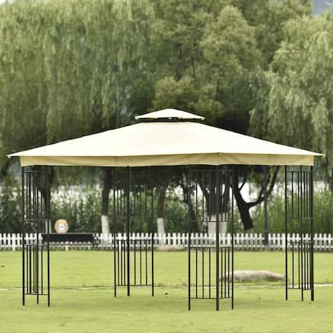 Nestfair Patio Gazebos Double Roof Soft Canopy Garden Backyard Gazebo