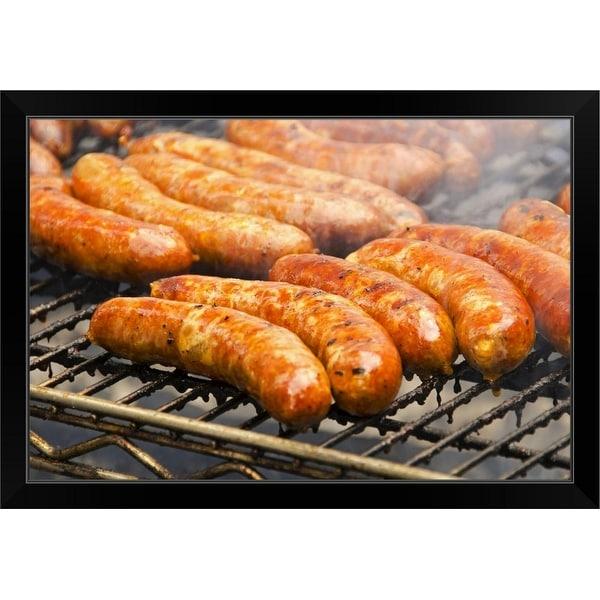 """""""Sausages on barbeque"""" Black Framed Print"""
