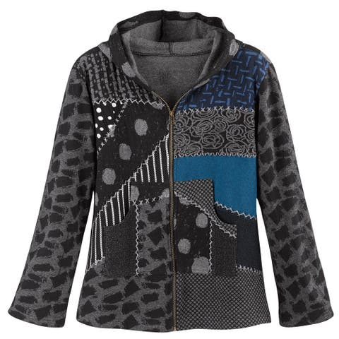 Avani Del Amour Women's Patchwork Mixed Prints Hoodie -Gray Zip-Up Hooded Jacket