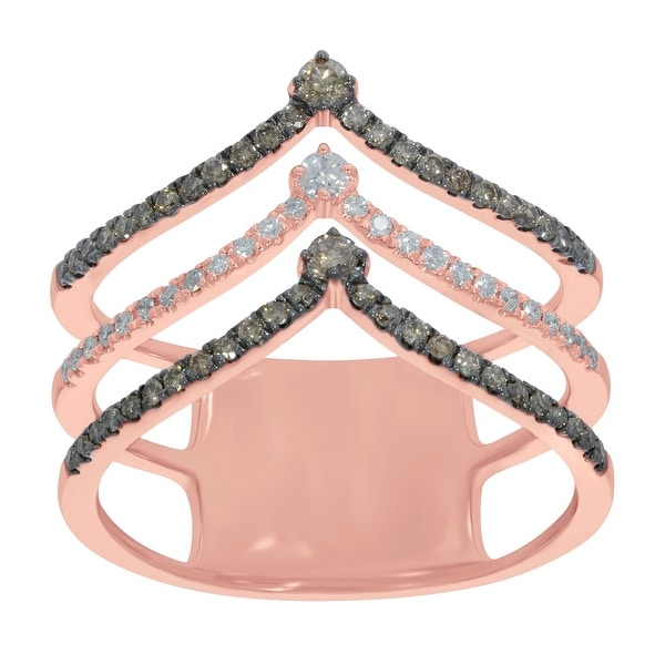Prism Jewel 0.60Ct Natural Brown Color Diamond with G-H/SI1 Diamond 3-Row Chevron Ring
