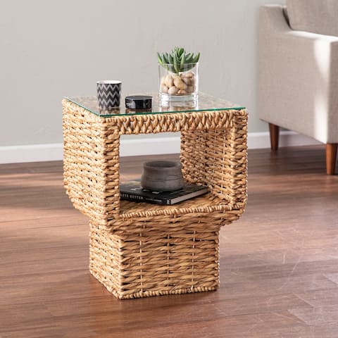 The Curated Nomad Palmesa Eclectic Natural Woven Fiber Accent Table