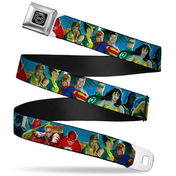 Dc Originals Black Silver The Justice League 12 Superhero Pose Blues Seatbelt Belt