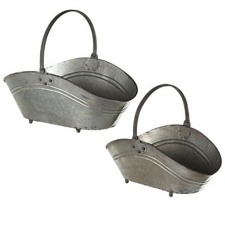 Set of 2 Gray Distressed Finished Galvanized Curved Oval Baskets with Handle 20.5""