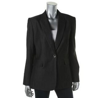 Tahari ASL Womens Jennie Pindot Peak Collar One-Button Blazer - 8