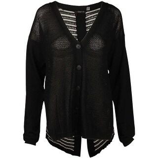 Dex Button Front Cardigan in Solid Black/Stripe