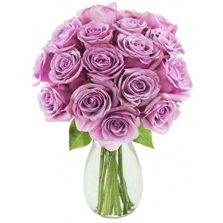 KaBloom: Bouquet of 18 Fresh Cut Purple Roses (Farm-Fresh, Long-Stem) with Vase