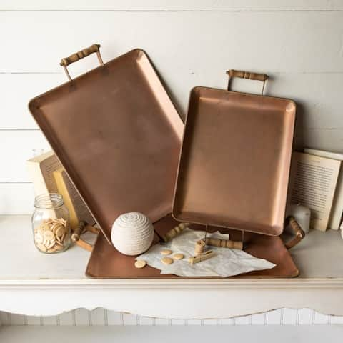 Copper Metal Serving Trays Set/3 - As Pictured