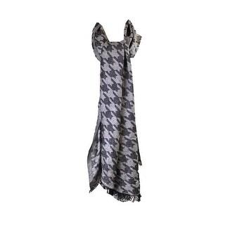 Style & Co. Black White Metallic Houndstooth Jacquard Evening Wrap OS