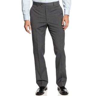 Nautica Travelwear Navy Blue Wool Blend Mini Check Dress Pants Flat Front