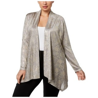 Calvin Klein Womens Plus Cardigan Top Metallic Open Front