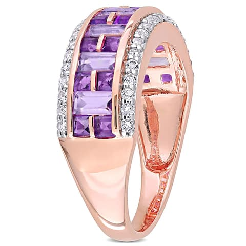 Miadora 10k Rose Gold African-Amethyst Rose de France and White Topaz Mosaic Semi-Eternity Ring