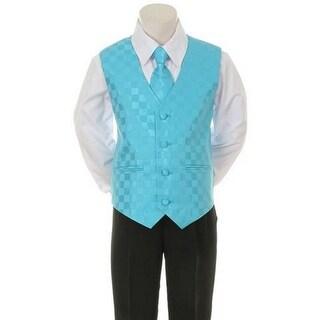 Kids Dream Aqua Checkered Vest Necktie Special Occasion Boys Suit 1-4T