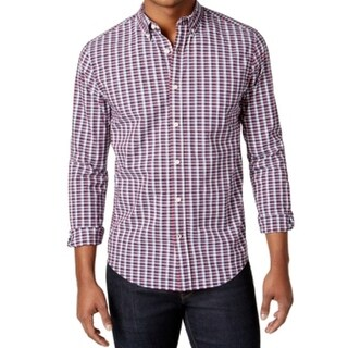 Tommy Hilfiger NEW Red Mens Size LT Button Down Poplin Check Shirt