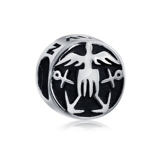 Bling Jewelry Round Patriotic US Navy Charm 925 Sterling Silver Military Bead for European Bracelet
