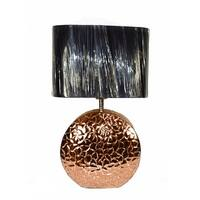 Textured Copper Finish Disc Table Lamp W/ Black Fabric Oval Shade 23 Inches Tall