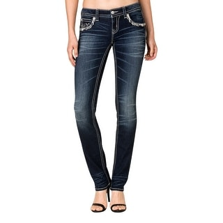 Miss Me Denim Jeans Womens Snowflake Straight Cut Dark Wash JP7725T