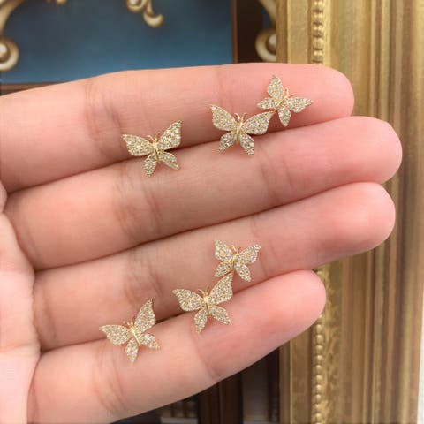 Diamond Butterfly Studs Earrings 14k Gold 1/3ct TDW by Joelle Collection