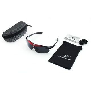 ROBESBON Authorized Exercise Polarized Eyewear Goggles Cycling Glasses Red Set