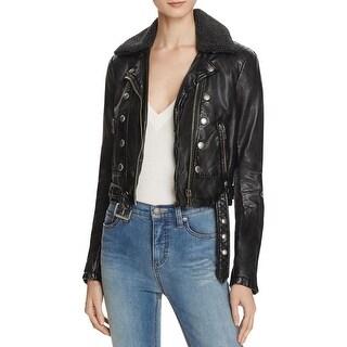 Free People Womens Jacket Vegan Leather Long Sleeves
