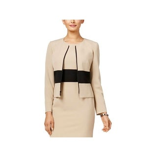 Kasper Womens Collarless Blazer Crepe Colorblocked (2 options available)