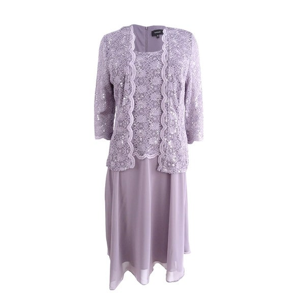 R&M Richards Women's Sequined Lace Chiffon Dress and Jacket (6, Orchid) - Orchid - 6