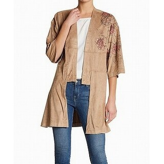 Melrose And Market Beige Womens Small S Faux-Suede Floral Cardigan