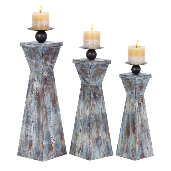 Functional Set of Three Wood Candle Holder