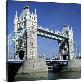 """Tower Bridge and Thames River, London, England"" Canvas Wall Art"