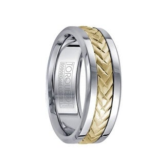 Polished White Cobalt Men's Wedding Band Brushed 14k Yellow Gold Center Cuts Design by Crown Ring - 7.5 mm
