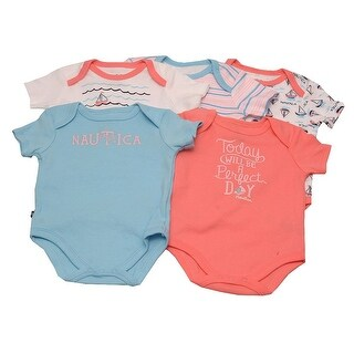 Nautica Baby Girls White Blue Stripe Wave Boat Print 5 Pcs Bodysuit Set 3M