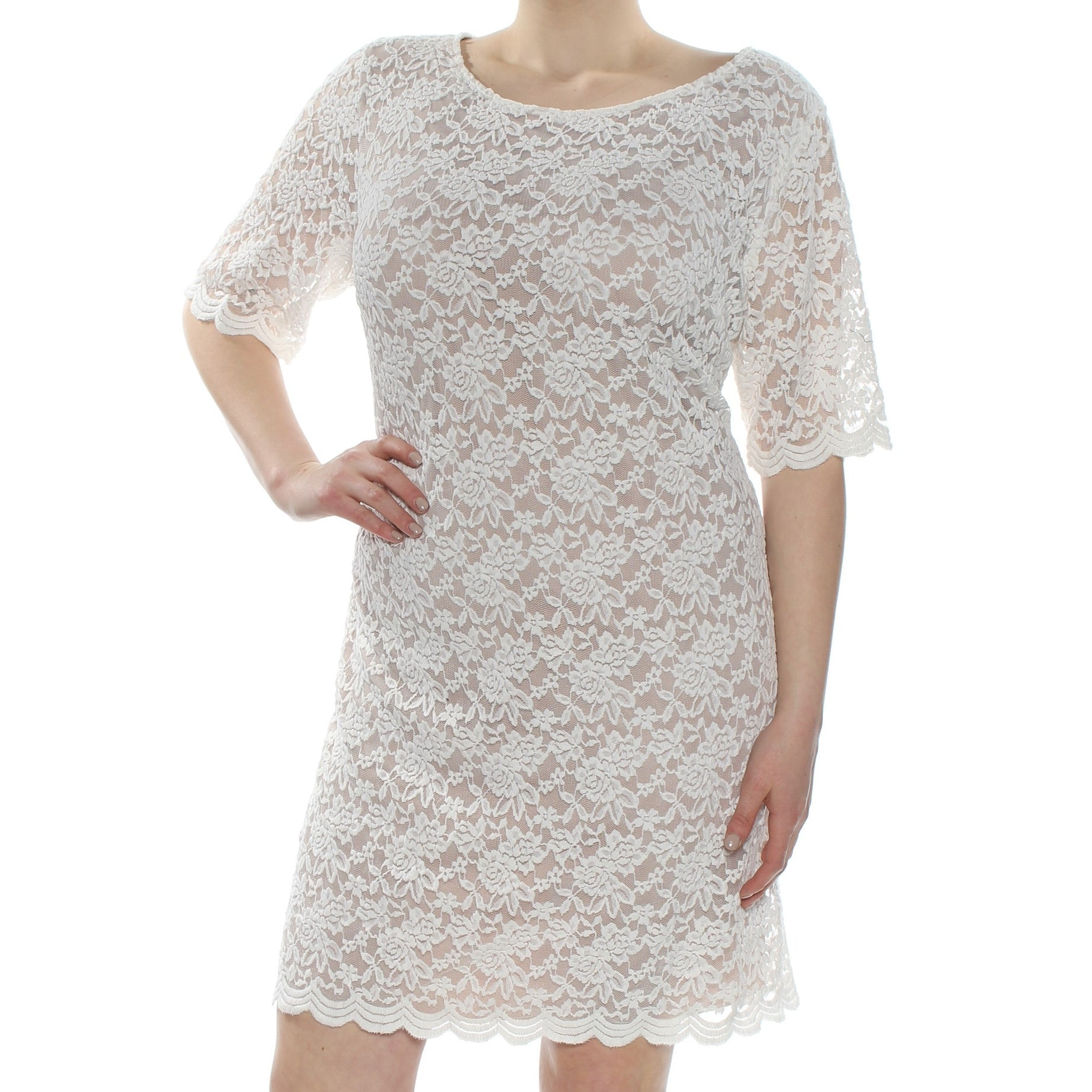 CONNECTED Womens Ivory Lace Sheer Short Sleeve Jewel Neck Above The Knee  Party Dress Plus Size: 20W