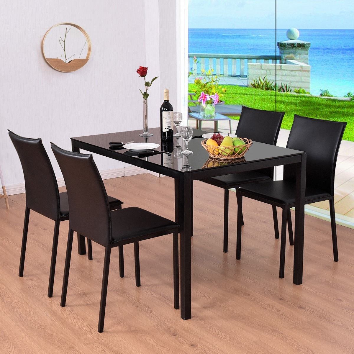 5 Piece Dining Table Set 4 Chairs PU Glass Top Furniture Kitchen Breakfast  Room