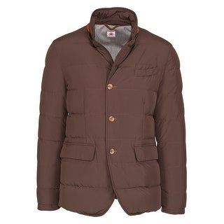 Luigi Borrelli Men's Brown Wool Quilted Puffer Button Coat