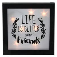 """9"""" B/O LED Lighted """"Life is Better With Friends"""" Framed Wall Decor - Black"""