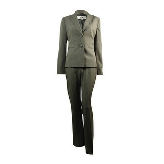 Le Suit Women's Notched Lapel Two Button Pinstriped Pant Suit - Grey