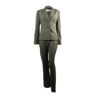 Le Suit Women's Notched Lapel Two Button Pinstriped Pant Suit - Grey
