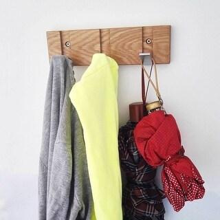 Coat Rack and Hooks Oak Solid Wood with Zinc-nickel Alloy 3 Hooks Modern Design Hidden Rack for Your Living