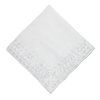 CTM® Women's Cotton Bridal Hand Crocheted Venice Lace Handkerchief - One size