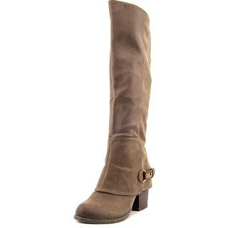 Fergalicious Lexy Women Round Toe Canvas Brown Knee High Boot