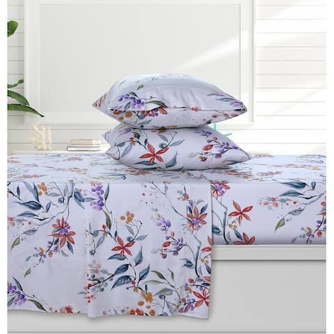 Azores Home Organic Cotton Sateen 300 Thread Count Deep Pocket Sheet Set
