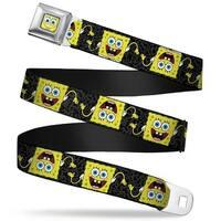Sponge Bob Face Close Up SpongeBob Pose Flip Camo Gray Black Webbing Seatbelt Belt
