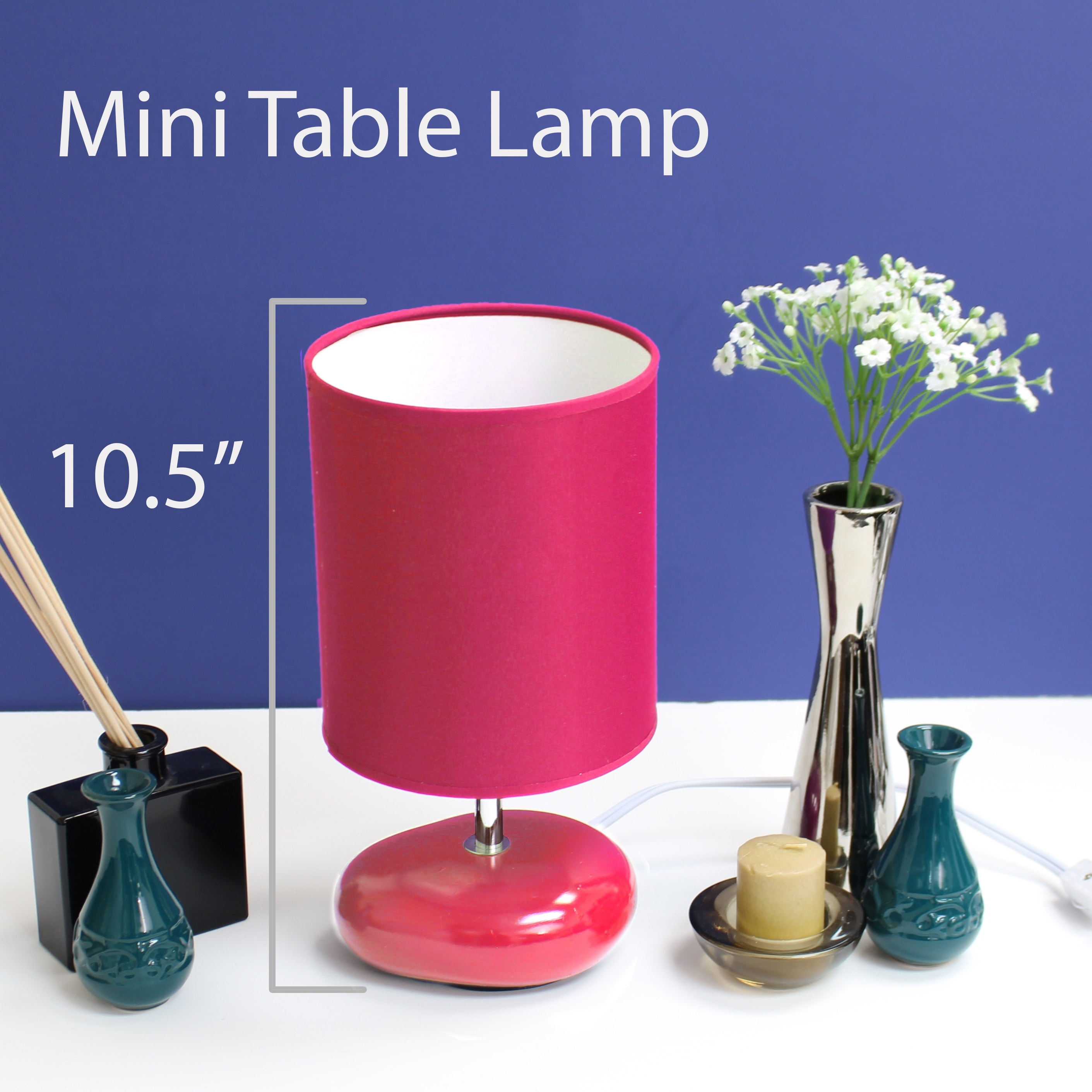 Image of: Shop Black Friday Deals On Simple Designs Stonies Fabric Drum Shade Ceramic Bedside Lamp Overstock 13982719