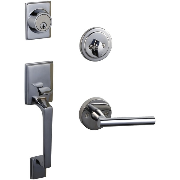 Design House 581934 Moderno Sectional Single Cylinder Keyed Entry Handleset with Eastport Lever - Polished Chrome
