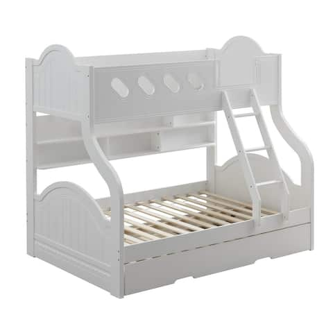 Wooden Twin Over Full Bunk Bed with Bookcase, White