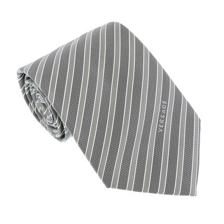 Versace Light Grey Woven Tonal Stripe Tie